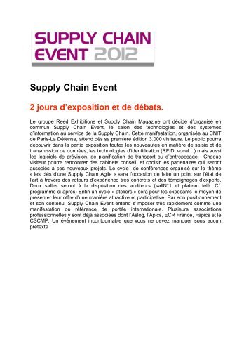 Supply Chain Event 2 jours d'exposition et de débats.