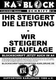 blockschrift 15 - Supporters Karlsruhe 1986 eV