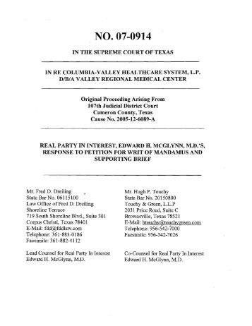 Petition for Writ of Mandamus - Supreme Court of Texas