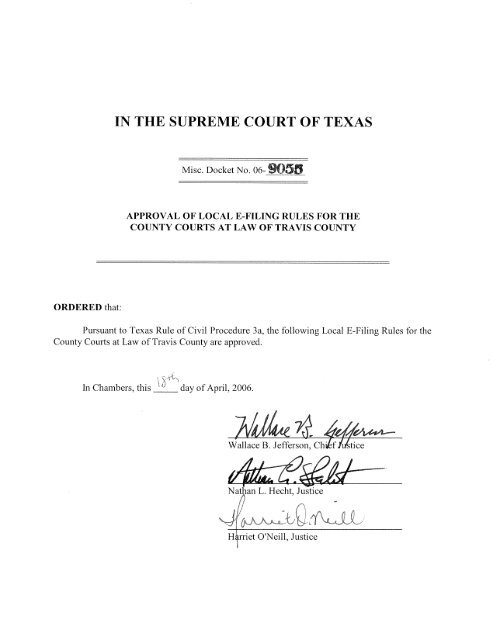 E-Filing Rules for Travis County Courts at Law - Supreme Court of