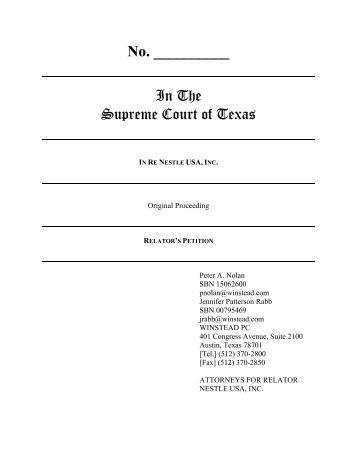 Petition for Writ of Mandamus - Filed - Supreme Court of Texas