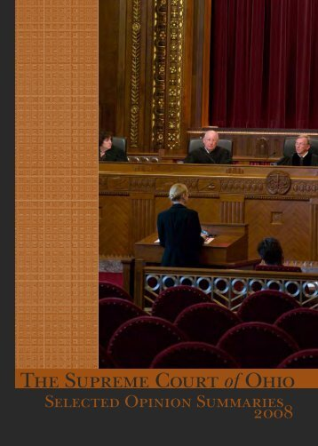 Supreme Court of Ohio Selected Opinion Summaries 2008