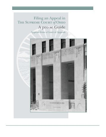 Filing an Appeal in The Supreme Court of Ohio A pro se Guide