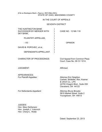 Huntington Bank v. Popovec - Supreme Court - State of Ohio