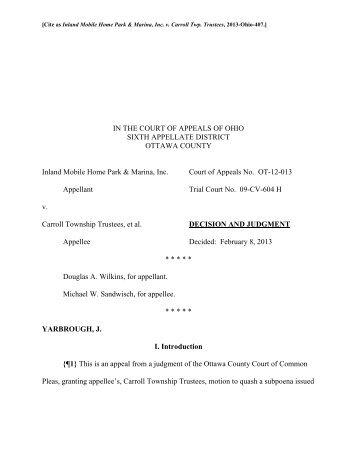 Inland Mobile Home Park & Marina, Inc. v. Carroll ... - Supreme Court