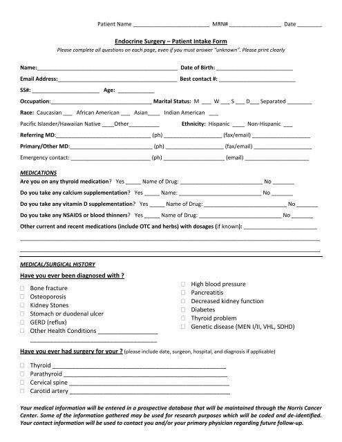 Endocrine Surgery Patient Intake Form - USC Department of Surgery
