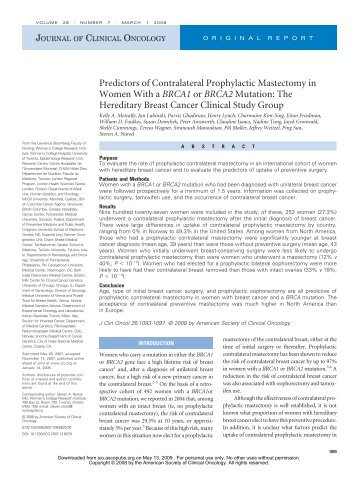 Predictors of Contralateral Prophylactic Mastectomy in Women With ...