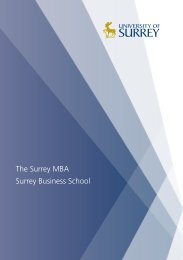 The Surrey MBA Surrey Business School - University of Surrey