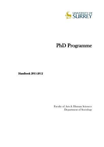 Sociology PhD Handbook FINAL.pdf - University of Surrey