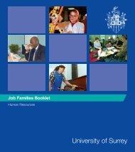 Job Families Booklet 2006 - University of Surrey