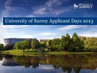 Applicant Day Parents Programme Welcome to Surrey - University of ...