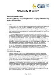Briefing notes to students on Academic Integrity - University of Surrey