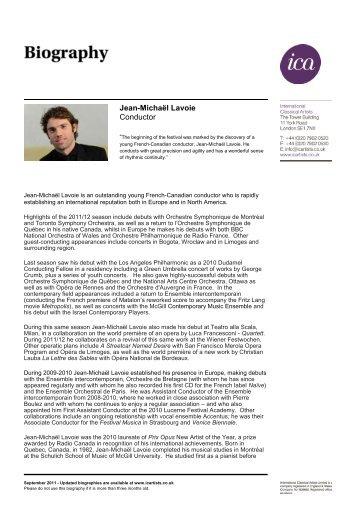 Jean-Michaël Lavoie Conductor - International Classical Artists
