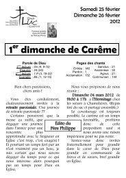 Paroisse Saint Luc - Feuille paroissiale 25-26 février 2012
