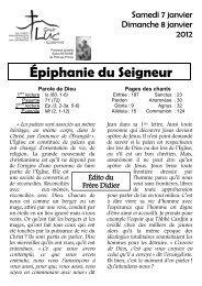 Paroisse Saint Luc - Feuille paroissiale 7- 8 janvier 2012