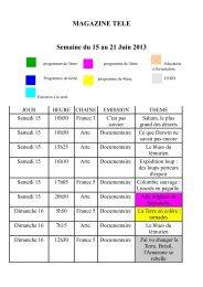 MAGAZINE TELE Semaine du 15 au 21 Juin 2013