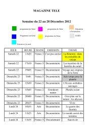 MAGAZINE TELE Semaine du 22 au 28 Décembre 2012