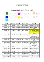 MAGAZINE TELE Semaine du 09 au 15 Février 2013
