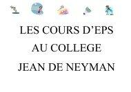 Les cours d'EPS - Site du collège Jean de Neyman