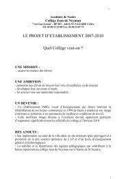 Le projet d'établissement 2007 - Site du collège Jean de Neyman ...