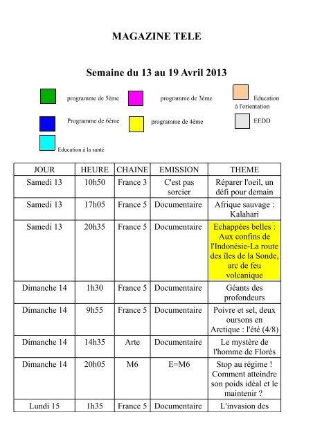 MAGAZINE TELE Semaine du 13 au 19 Avril 2013