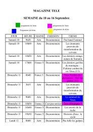 MAGAZINE TELE SEMAINE du 10 au 16 Septembre