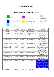 MAGAZINE TELE Semaine du 19 au 25 Janvier 2013