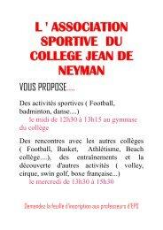 association sportive du college jean de neyman - Site du collège ...