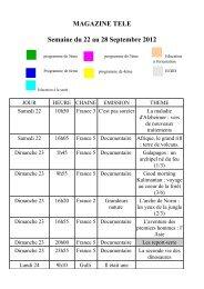 MAGAZINE TELE Semaine du 22 au 28 Septembre 2012
