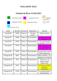 MAGAZINE TELE Semaine du 08 au 14 Juin 2013