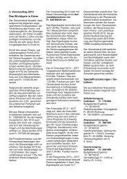 2. Voranschlag 2013 Das Wichtigste in Kürze Spezialfinanzierungen ...