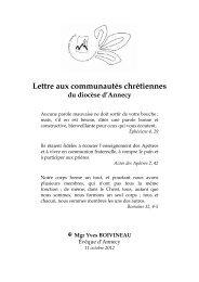 Lettre aux communautés chrétiennes - Diocèse d'Annecy