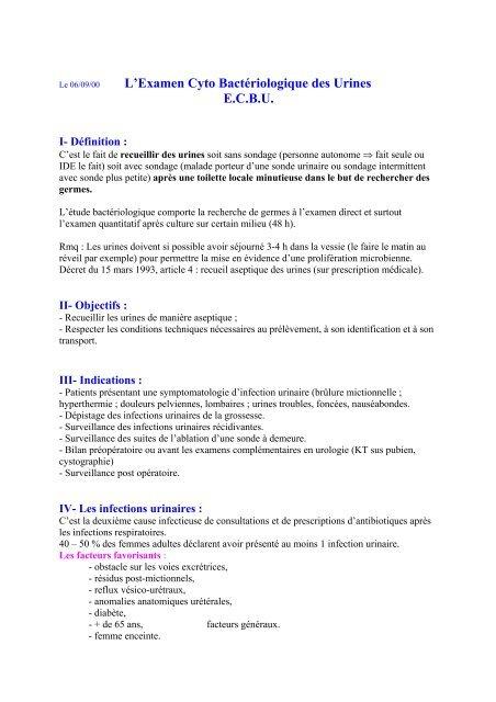 Lexamen Cyto Bactériologique Des Urines Ecbu Infirmierscom