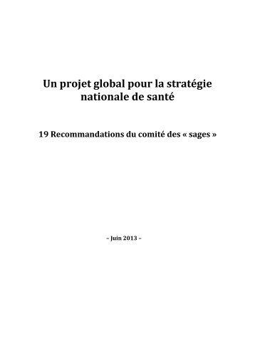 Un projet global pour la stratégie nationale de santé - Infirmiers.com