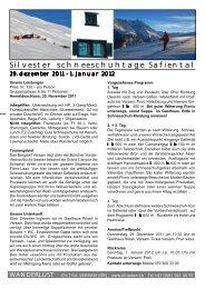 Silvester schneeschuhtage Safiental - Surselva.info