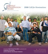 2008 Call for Nominations - Sustainable Conservation