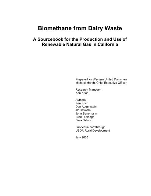 Biomethane from Dairy Waste: A Sourcebook for the ... - Calstart