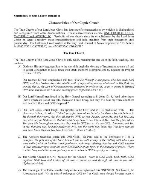 Characteristics of Our Coptic Church - Coptic Orthodox