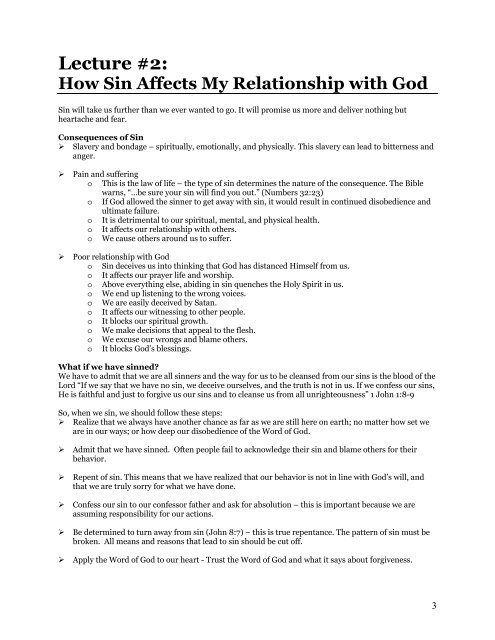 Lecture #2: How Sin Affects My Relationship with God