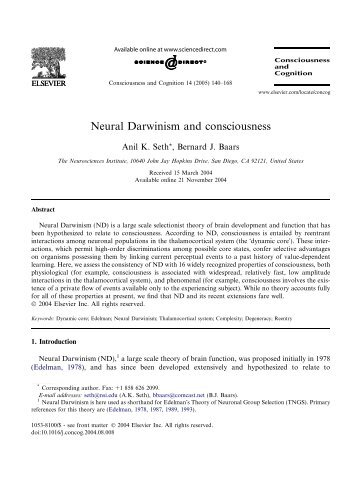 Neural Darwinism and consciousness - University of Sussex