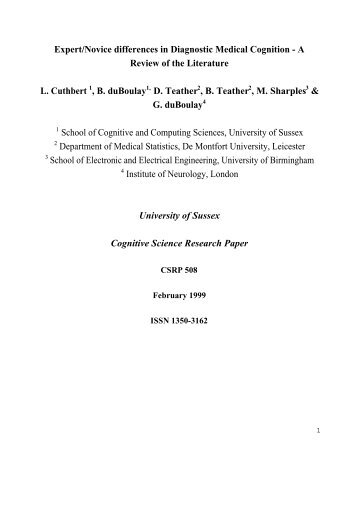 Expert/Novice differences in Diagnostic Medical Cognition - A ...