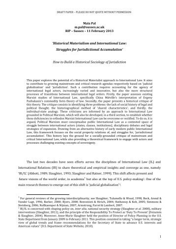 Historical Materialism and International Law - University of Sussex
