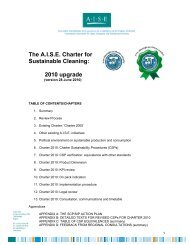 The A.I.S.E. Charter for Sustainable Cleaning: 2010 upgrade