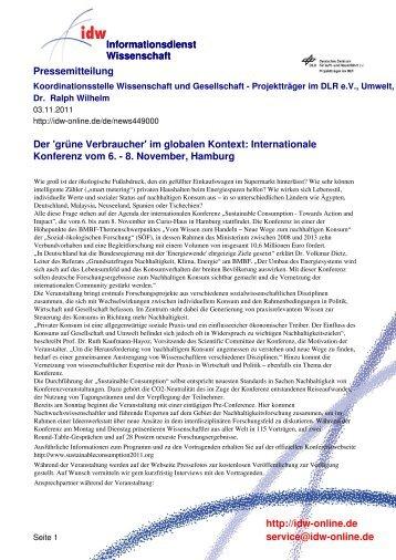 Internationale Konferenz vom 6. - 8. November, Hamburg