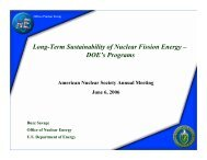 Long-Term Sustainability of Nuclear Fission Energy – DOE's Programs