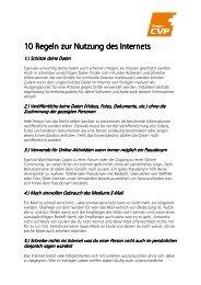 10 Regeln zur Nutzung des Internets - CVP