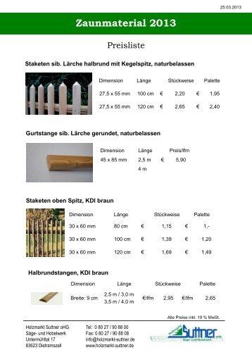 Staketten 2013 - Holzmarkt Suttner