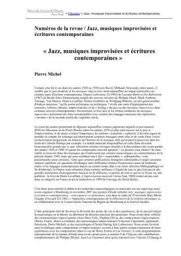 « Jazz, musiques improvisées et écritures ... - Revues en ligne
