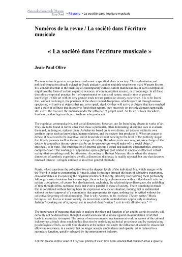 La société dans l'écriture musicale » Jean-Paul ... - Revues en ligne