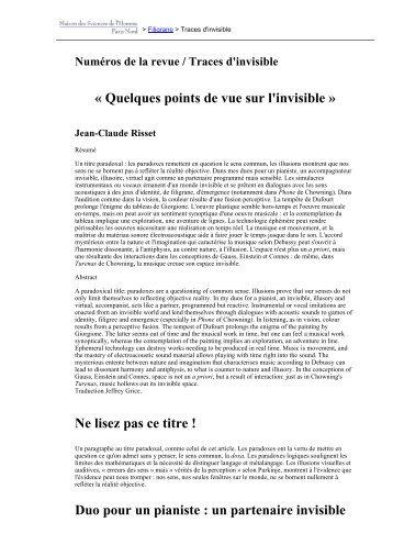 « Quelques points de vue sur l'invisible » Ne lisez ... - Revues en ligne